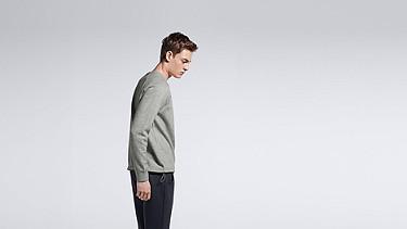 STYX V1.Y0.01 Relaxed Raglan Sweatshirt grey / melange Front Alpha Tauri