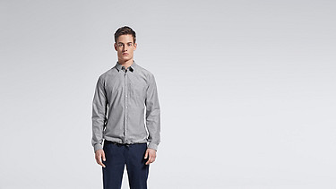 WIDT V1.Y0.02 Oxford Shirt grey Model shot Alpha Tauri
