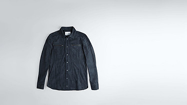 LUNN V1.Y0.02 Leather Shirt navy Back Alpha Tauri
