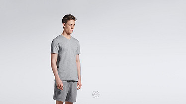 BUCK V-neck Taurex® T-shirt grey / melange Alpha Tauri