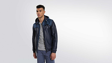 OLIN V1.Y1.01 Leather Jacket navy Model shot Alpha Tauri