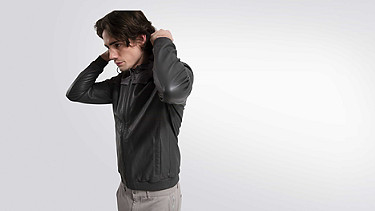 OLIN V1.Y1.01 Leather Jacket grey Model shot Alpha Tauri