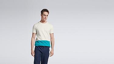 JUZO V1.Y1.01 Colorblock T-shirt offwhite Model shot Alpha Tauri