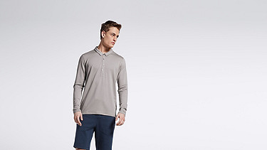 JOOK V1.Y1.01 Long-sleeved Polo grey Model shot Alpha Tauri