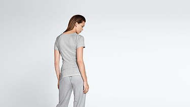 JENA V1.Y1.01 Stripe-detail T-shirt grey / melange Front Alpha Tauri