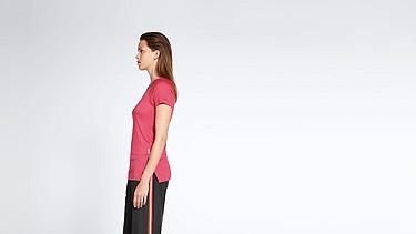JENA V1.Y1.01 Stripe-detail T-shirt coral Front Alpha Tauri