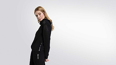 ORLA V1.Y1.01 Perforated Hooded Jacket black Model shot Alpha Tauri