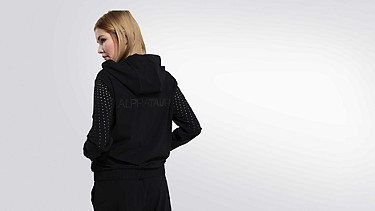 ORLA V1.Y1.01 Perforated Hooded Jacket black Front Alpha Tauri