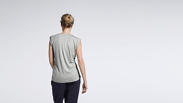 JAMA V1.Y1.01 Crop-sleeved T-shirt grey / melange Front Alpha Tauri