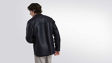 LION V1.Y1.02 Leather Shearling Jacket navy Front Alpha Tauri