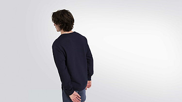SALT V1.Y1.02 Cotton-Bamboo Mix Sweater navy / melange Front Alpha Tauri