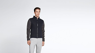 SHIO V1.Y1.02 Sweat Jacket navy Model shot Alpha Tauri