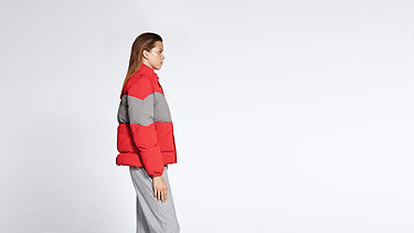 OKLA V1.Y1.02 Padded Jacket with Primaloft® Filling red / grey Front Alpha Tauri