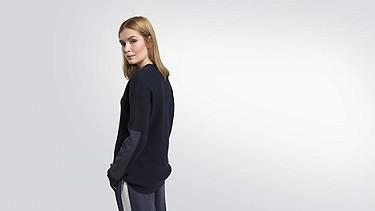 FALA V1.Y1.02 Rib-knit Pullover navy Front Alpha Tauri