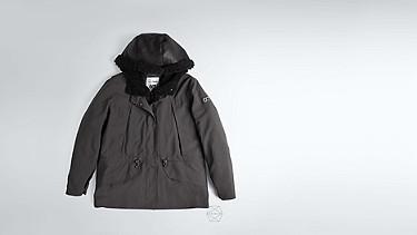 OSMA V1.Y1.02 Two-piece Leather-detail Jacket dark grey / anthracite Back Alpha Tauri