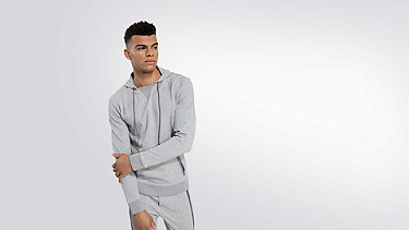 SAGT V1.Y2.01 Technical Hoodie grey / melange Model shot Alpha Tauri