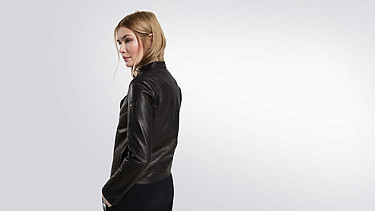 LAAK V1.Y2.01 Leather biker jacket black Front Alpha Tauri