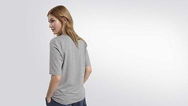 JIEV V1.Y2.01 V-Neck Taurex® T-Shirt grey / melange Vorne Alpha Tauri