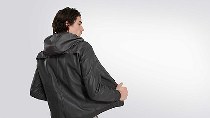 OLIN V1.Y1.01 Leather Jacket grey Front Alpha Tauri