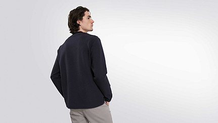 SARO V1.Y1.01 Sweatshirt with Collar Detail navy Front Alpha Tauri