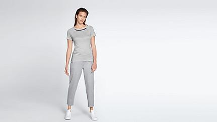 JENA V1.Y1.01 Stripe-detail T-shirt grey / melange Front Main Alpha Tauri