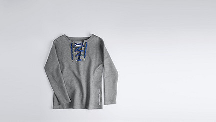 SAYA V1.Y1.01 Lace-up sweatshirt grey Back Alpha Tauri