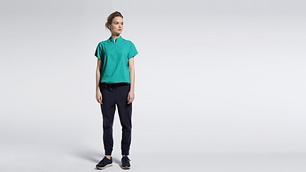 WABI V1.Y1.01 Short-sleeved Blouse turquoise Front Main Alpha Tauri