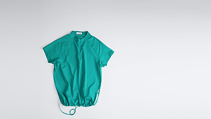 WABI V1.Y1.01 Short-sleeved Blouse turquoise Back Alpha Tauri
