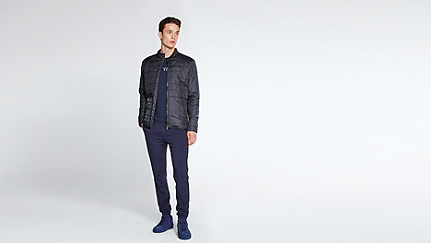 OSSO V1.Y1.02 Quilted Jacket navy Front Main Alpha Tauri