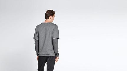 SADT V1.Y1.02 Layered Sweatshirt grey / melange Front Alpha Tauri