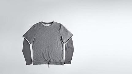 SADT V1.Y1.02 Layered Sweatshirt grey / melange Back Alpha Tauri
