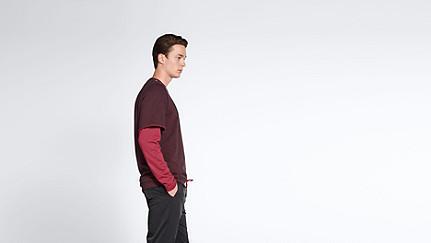 SADT V1.Y1.02 Layered Sweatshirt bordeaux Front Alpha Tauri