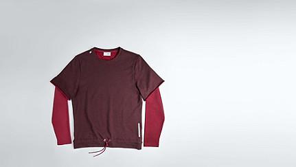 SADT V1.Y1.02 Layered Sweatshirt bordeaux Back Alpha Tauri