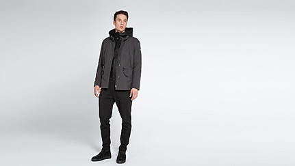 OGMA V1.Y1.02 Two-piece Leather-detail Jacket dark grey / anthracite Front Main Alpha Tauri
