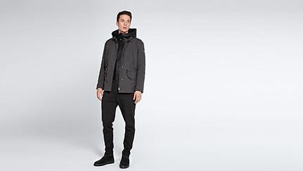 OGMA V1.Y1.02 Two-piece Taurex® Leather-detail Jacket dark grey / anthracite Front Main Alpha Tauri