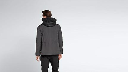 OGMA V1.Y1.02 Two-piece Leather-detail Jacket dark grey / anthracite Front Alpha Tauri