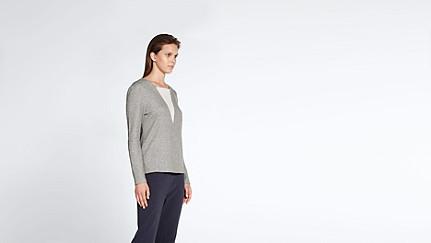 SIMP V1.Y1.02 V-feature Sweater grey / melange Front Alpha Tauri