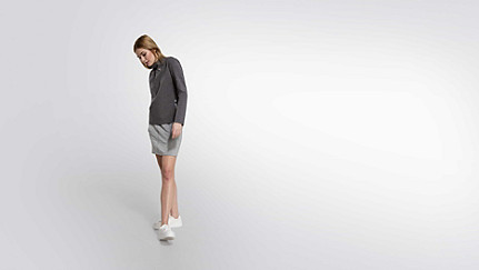 SYRI V1.Y1.02 Sweatshirt mit Kragen-Detail grey / melange Haupt Vorne Alpha Tauri