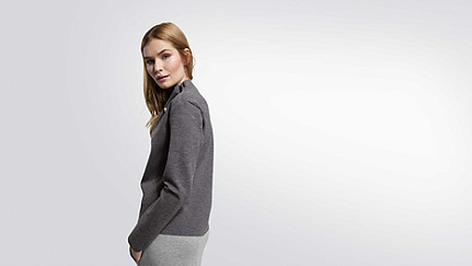 SYRI V1.Y1.02 Sweatshirt mit Kragen-Detail grey / melange Vorne Alpha Tauri