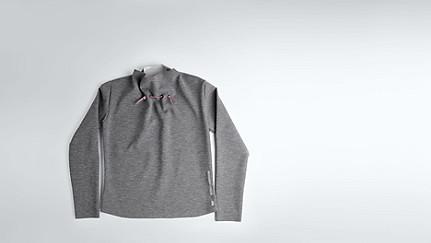 SYRI V1.Y1.02 Sweatshirt mit Kragen-Detail grey / melange Hinten Alpha Tauri