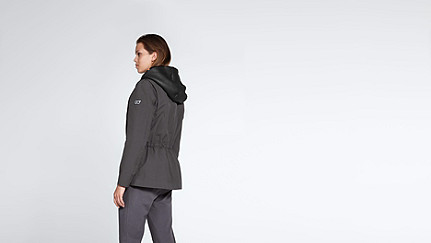 OSMA V1.Y1.02 Two-piece Leather-detail Jacket dark grey / anthracite Front Alpha Tauri