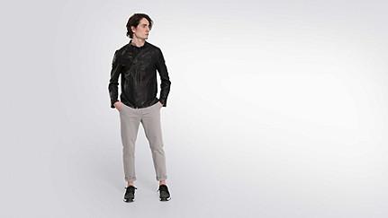 LOKI V1.Y2.01 Biker Leather Jacket black Front Main Alpha Tauri