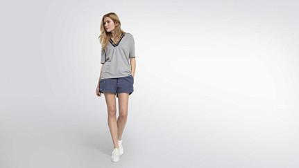 JIEV V1.Y2.01 V-Neck Taurex® T-Shirt grey / melange Haupt Vorne Alpha Tauri