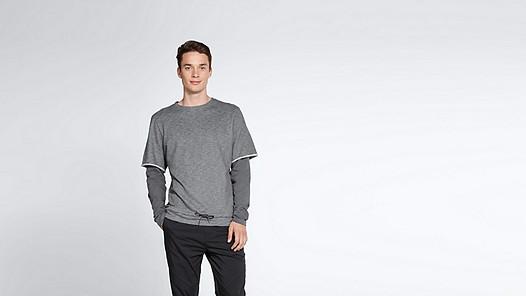SADT V1.Y1.02 Layered Sweatshirt grey / melange Model shot Alpha Tauri