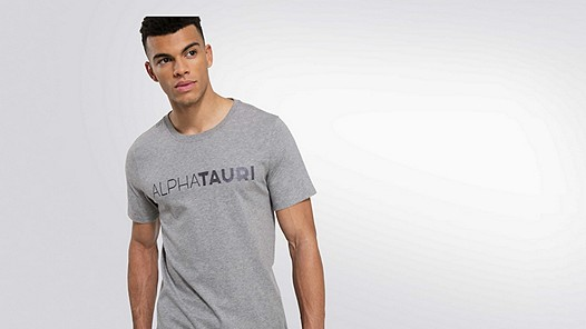 JIGU V1.Y1.02 Logo T-shirt grey / melange Model shot Alpha Tauri