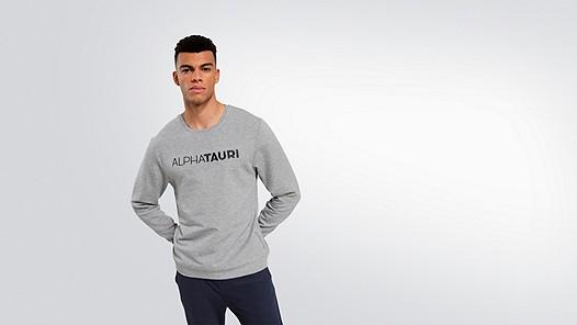 SALT V1.Y1.02 Logo Sweatshirt grey / melange Model Foto Alpha Tauri
