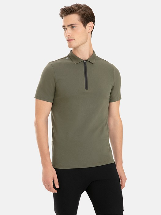 Poloshirt with Taped Zipper