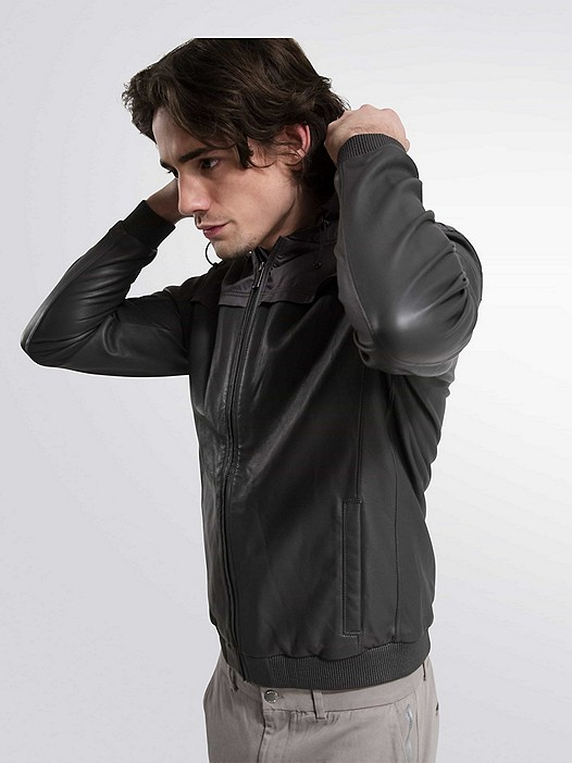 OLIN V1.Y1.01 Leather Jacket grey Model shot Alpha Tauri