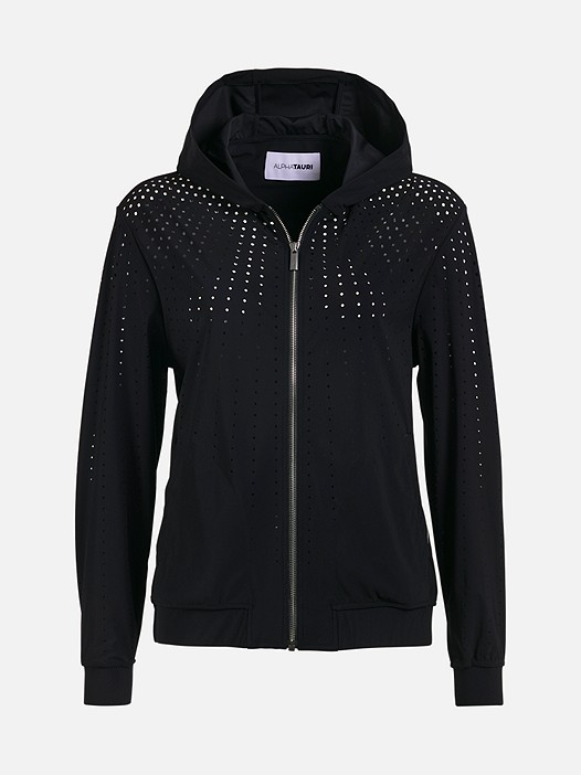 ORLA V1.Y1.01 Perforated Hooded Jacket black Back Alpha Tauri