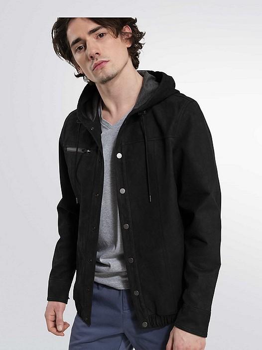 LUNN V2.Y1.02 Leather Jacket dark grey Model shot Alpha Tauri